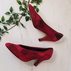 Nando Muzi Shoes - Rare nando muzi vintage suede leather patch pumps